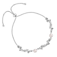 Jon Richard - Silver cubic zirconia cluster pearl toggle bracelet