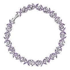 Jon Richard - Silver purple crystal flower bracelet
