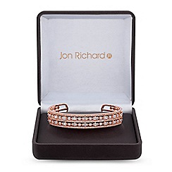 Jon Richard - Rose gold cubic zirconia double row bangle