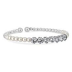Jon Richard - Silver cubic zirconia and pearl twist cuff bracelet