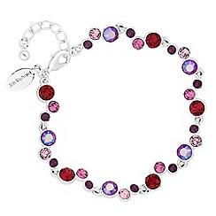 Jon Richard - Silver shimmer reds statement bracelet embellished with Swarovski crystals