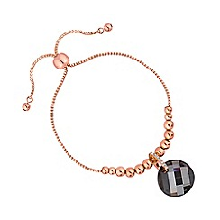 Jon Richard - Rose gold wave crystal toggle bracelet embellished with Swarovski crystals