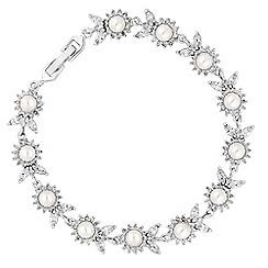 Alan Hannah Devoted - Designer silver crystal and pearl flower bracelet
