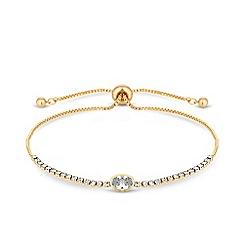 Jon Richard - Gold plated clear cubic zirconia diamante toggle bracelet
