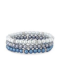 Jon Richard - Silver plated blue pearl 3 row ombre stretch bracelet