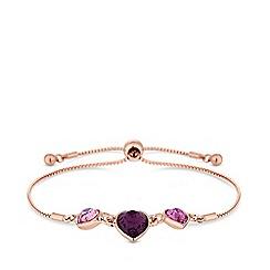 Jon Richard - Rose gold plated pink Swarovski heart toggle bracelet