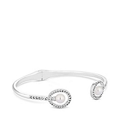 Jon Richard - Silver plated clear cubic zirconia pearl double oval bangle bracelet