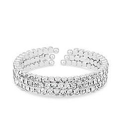 Jon Richard - Silver plated clear crystal tennis cupchain cuff bracelet