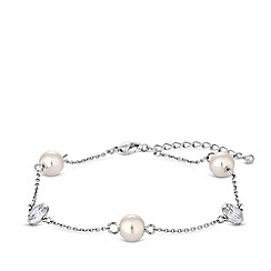 Jon Richard - Silver plated clear crystal pearl and crystal channel bracelet