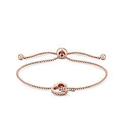 Jon Richard - Rose gold plated clear crystal heart bracelet