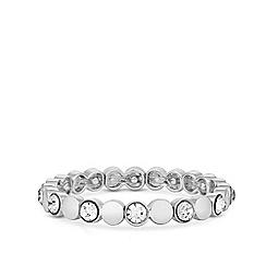 Jon Richard - Silver Plated Polished and Pave Round Stretch Bracelet