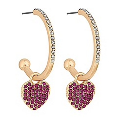 Lipsy - Crystal pave heart hoop earrings