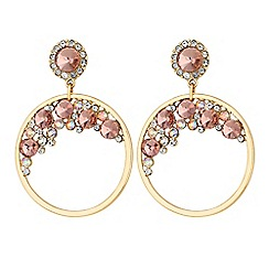 Lipsy - Blush pink crystal hoop drop earrings