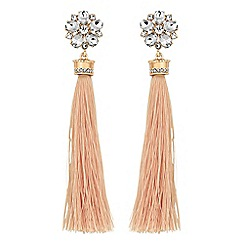 Lipsy - Crystal floral tassel drop earrings