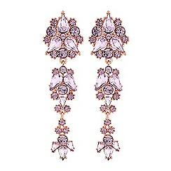 Lipsy - Pink crystal cluster drop earrings