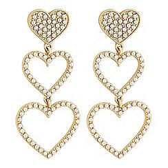 Lipsy - Gold pearl heart drop earrings