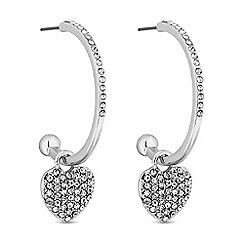 Lipsy - Silver pave heart hoop earring