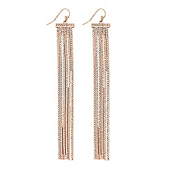 Lipsy - Rose gold pave bar tassel drop earrings