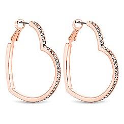 Lipsy - Rose gold crystal heart hoop earrings