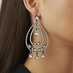 Lipsy - Silver crystal statement hoop earrings