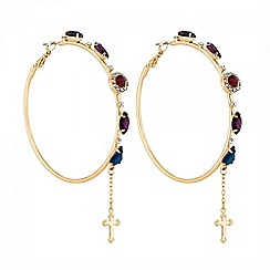 Lipsy - Gold crystal embellished hoop earrings