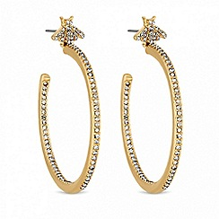 Lipsy - Gold crystal bee hoop earrings