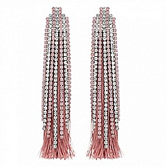 Lipsy - Pink crystal and tassel drop earrings