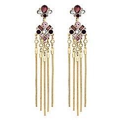Lipsy - Pink crystal chain tassel drop earrings