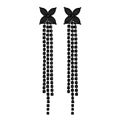 Lipsy - Black floral crystal diamante drop earring