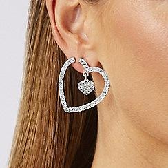 Lipsy - Silver crystal heart hoop earrings