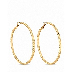 Lipsy - Gold plated gold textured hoop earrings