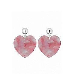 Lipsy - Silver plated pink heart drop earrings
