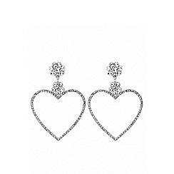 Lipsy - Silver plated clear heart hoop earrings