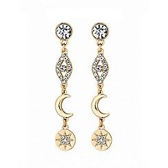 Lipsy - Gold plated clear celestial mismatch drop earrings