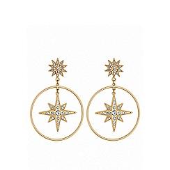 Lipsy - Gold plated clear star hoop earrings
