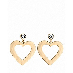 Lipsy - Gold plated clear heart drop earrings