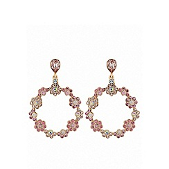 Lipsy - Rose gold plated pink floral drop earrings