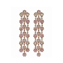 Lipsy - Rose gold plated pink floral chandelier earrings
