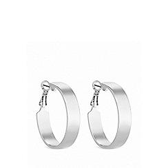 Lipsy - Silver plated silver flat edge hoop earrings