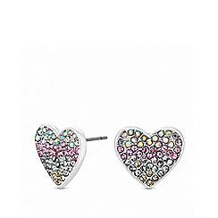 Lipsy - Rainbow pave heart stud earrings