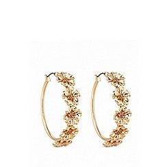 Lipsy - Metal floral hoop earrings