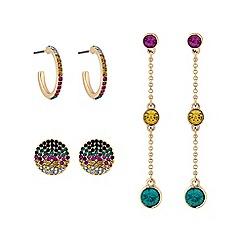Lipsy - Bright multicolour 3 pack earrings