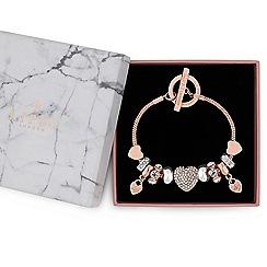Lipsy - Rose gold pave crystal heart charm bracelet