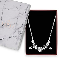 Lipsy - Silver pave crystal heart charm necklace
