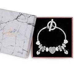 Lipsy - Silver pave crystal heart charm bracelet