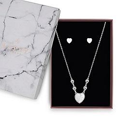Lipsy - Silver crystal heart jewellery set