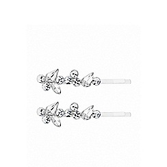 Lipsy - Silver plated clear navette slide hair