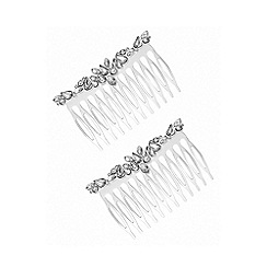 Lipsy - Silver plated clear navette comb hair