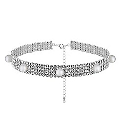 Lipsy - Diamante and pearl choker necklace