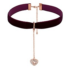 Lipsy - Crystal heart padlock charm choker necklace